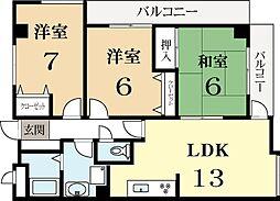 ラペルル城陽[1階]の間取り