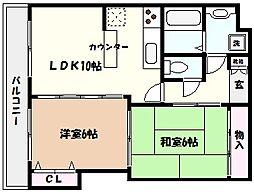 兵庫県芦屋市朝日ケ丘町の賃貸アパートの間取り
