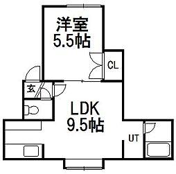 ブレス9[3階]の間取り