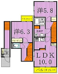 スターカレントIII[2階]の間取り