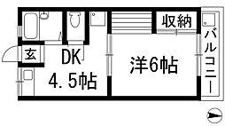 大阪府池田市空港1丁目の賃貸マンションの間取り