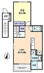 カーサベニーレD[2階]の間取り
