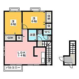 ハピネスKIRARA B[2階]の間取り