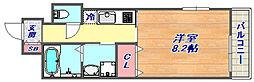 ヌーベルメンゾン六甲 4階1Kの間取り