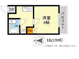 JR東海道・山陽本線 吹田駅 徒歩20分の賃貸アパート 2階1Kの間取り