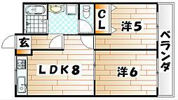 福岡県北九州市戸畑区小芝3丁目の賃貸マンションの間取り