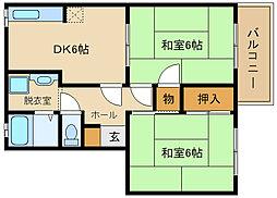 サンハイツ高井田[1階]の間取り