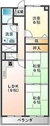 愛媛県新居浜市西原町2丁目の賃貸マンションの間取り