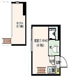 東京都新宿区北新宿1丁目の賃貸アパートの間取り