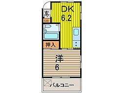 石村ハイツ[203号室]の間取り