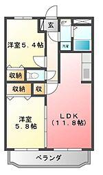 Y&Mシャルム川田 (ペット可)[2階]の間取り