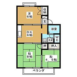 オレンジハイツ B棟[2階]の間取り