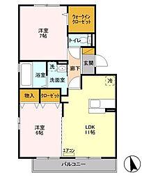 神奈川県相模原市緑区原宿南3丁目の賃貸アパートの間取り