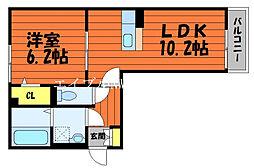 ル・シェル中庄I 1階1LDKの間取り