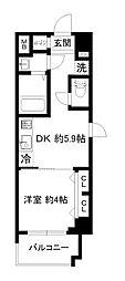 エステムコート京都東寺朱雀邸 4階1DKの間取り
