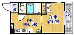 中津コーポ[301号室]の間取り