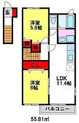 メゾンドアヴェニューG[2階]の間取り