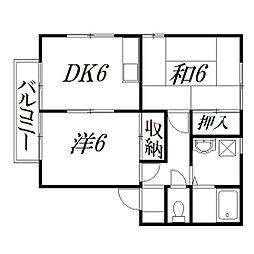 静岡県浜松市南区富屋町の賃貸アパートの間取り