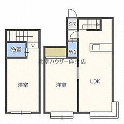 札幌市営南北線 北34条駅 徒歩5分の賃貸アパート 2階1LDKの間取り