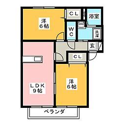 愛知県豊田市竹元町福田の賃貸アパートの間取り