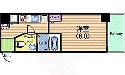 Osaka Metro中央線 阿波座駅 徒歩3分の賃貸マンション 3階1Kの間取り