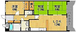 兵庫県尼崎市武庫町2丁目の賃貸マンションの間取り