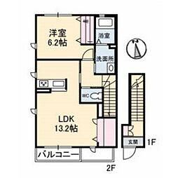 山口県下関市稗田西町の賃貸アパートの間取り