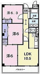 大阪府枚方市伊加賀西町の賃貸マンションの間取り