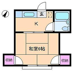 東京都北区赤羽北1丁目の賃貸アパートの間取り