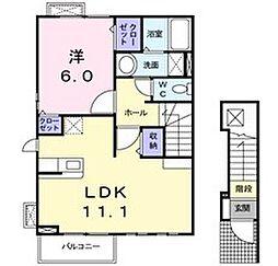 東京都東大和市蔵敷2丁目の賃貸アパートの間取り