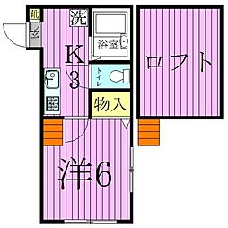 東京都足立区西新井3丁目の賃貸アパートの間取り