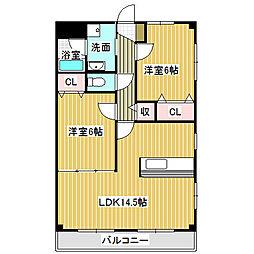愛知県海部郡蟹江町大字今字二之坪の賃貸マンションの間取り
