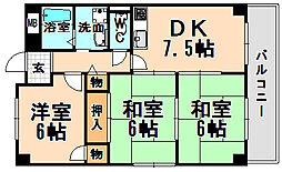 兵庫県伊丹市安堂寺町7丁目の賃貸マンションの間取り
