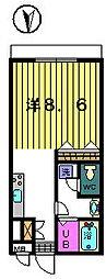 ベルグラン吉田[B−1−D号室]の間取り
