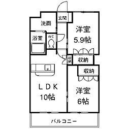 神奈川県相模原市中央区由野台2丁目の賃貸マンションの間取り