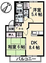 ウェルサイド緑井[2階]の間取り