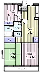 サンハイム笹堀[4階]の間取り