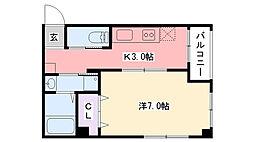 ウエスタン武庫川 1階1Kの間取り