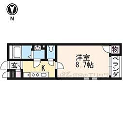 京福電気鉄道北野線 常盤駅 徒歩6分の賃貸アパート 1階1Kの間取り