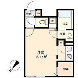 名古屋市営東山線 覚王山駅 徒歩5分の賃貸マンション 2階1Kの間取り
