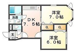 兵庫県尼崎市食満2丁目の賃貸アパートの間取り