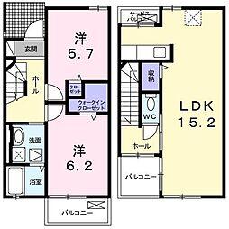 広島県東広島市西条中央3丁目の賃貸アパートの間取り