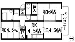 大阪府池田市畑3丁目の賃貸アパートの間取り