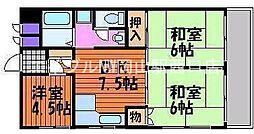 岡山県岡山市北区下石井2の賃貸マンションの間取り