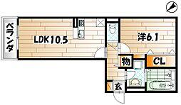 福岡県北九州市若松区高須南2丁目の賃貸アパートの間取り