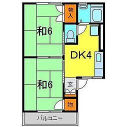 ハウスJJ・B棟[0206号室]の間取り