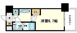 アドバンス新大阪ラシュレ 8階1Kの間取り