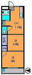 奈良県生駒市中菜畑の賃貸マンションの間取り