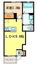 西武新宿線 東村山駅 徒歩5分の賃貸アパート 1階1LDKの間取り