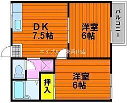 岡山県岡山市中区神下丁目なしの賃貸アパートの間取り